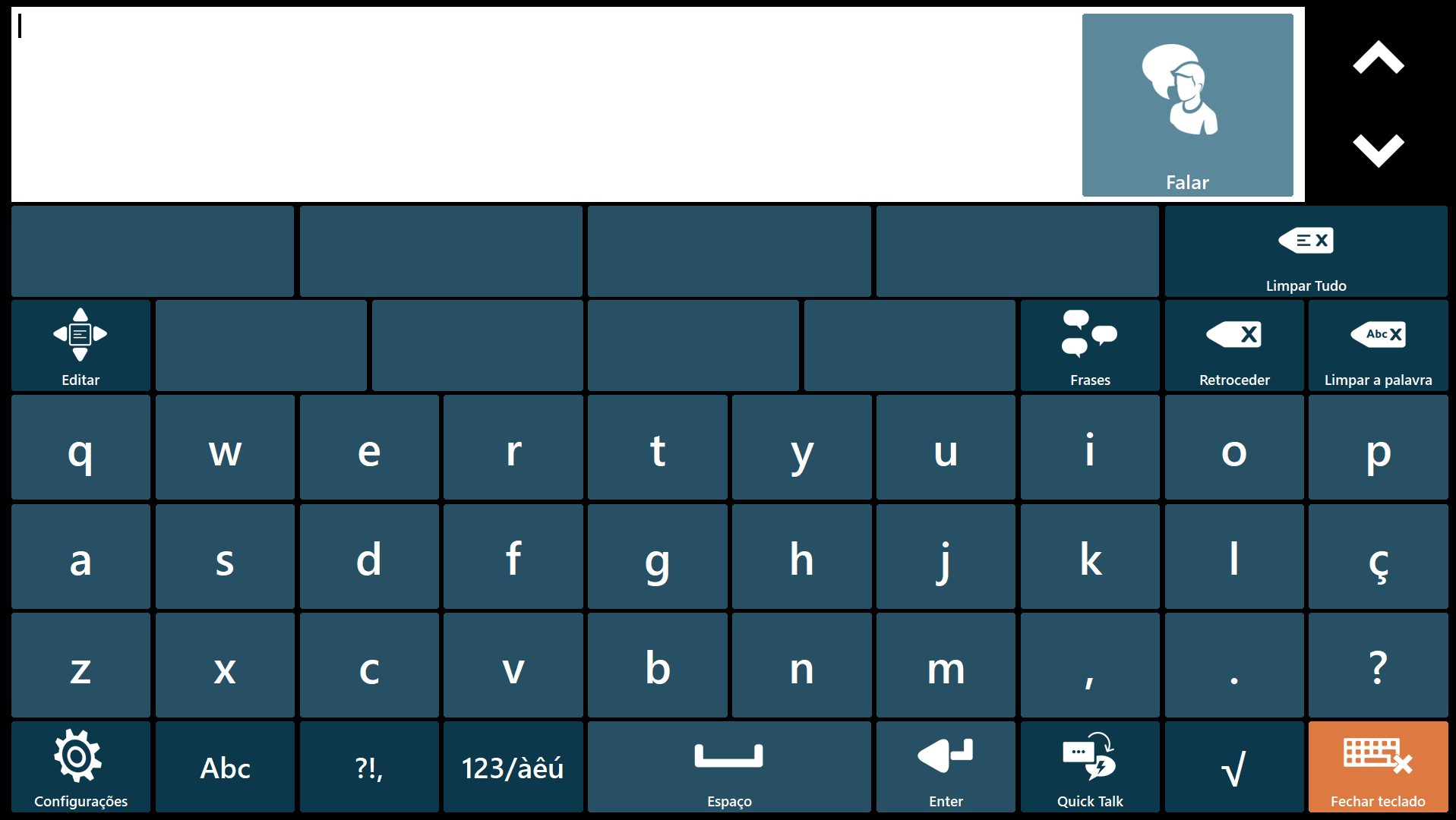 Teclado virtual pacientes ela QWERTY